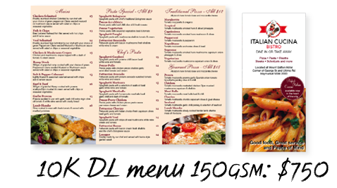 Varigraphic | $750 DL menu